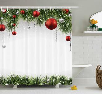 Tree Balls Ornaments Shower Curtain