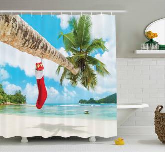 Beach Xmas Stockings Shower Curtain