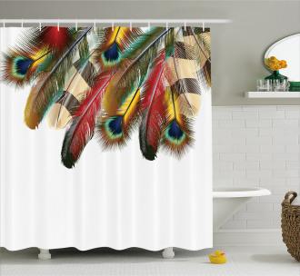 Vibrant Feathers Boho Shower Curtain