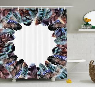 Bird Feathers Circle Art Shower Curtain