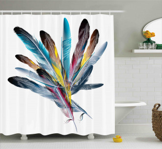 Colorful Feathers Old Pen Shower Curtain