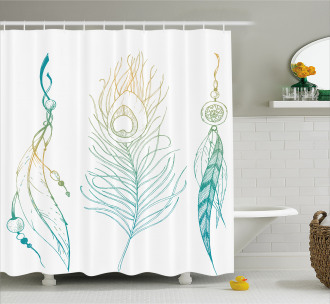 Feather Peacock Vintage Shower Curtain