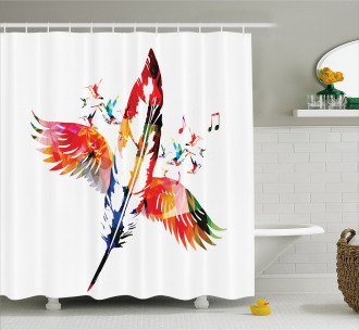 Feather with Wings Birds Shower Curtain