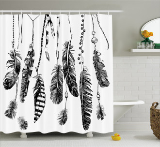 Hand Drawn Feather Shower Curtain