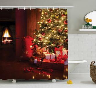 New Year Xmas Trees Shower Curtain