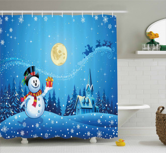 Snowman Sanra Gift Shower Curtain
