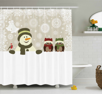 Snowflake Winter Day Shower Curtain