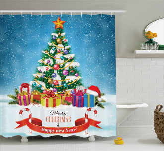 New Year Theme Boxes Shower Curtain