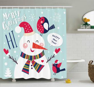 Bird Snow Xmas Theme Shower Curtain
