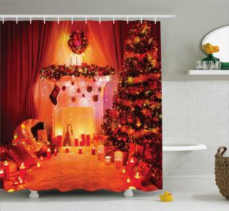 Noel New Years Theme Shower Curtain