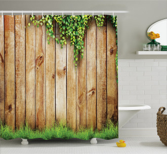 Wooden Garden Fence Shower Curtain