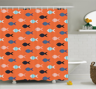 Colorful Fish Shoal Shower Curtain