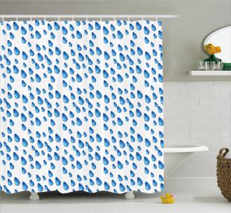 Raindrops Aquatic Fall Shower Curtain