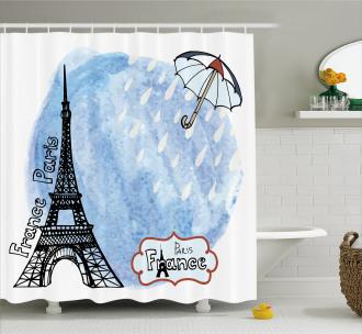 Watercolor Paris Shower Curtain