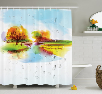 Lake Trees Pastoral Shower Curtain