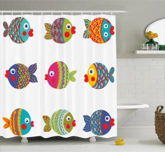 Cartoon Cute Fish Figures Shower Curtain