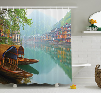 Chinese Wood Canal Shower Curtain