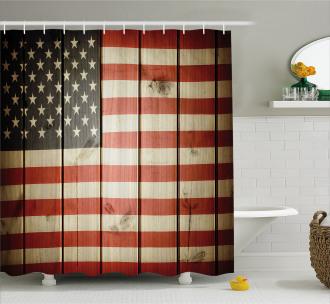 Wood Kitsch Flag Shower Curtain