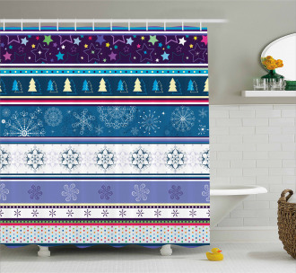 Dots and Snoflakes Shower Curtain
