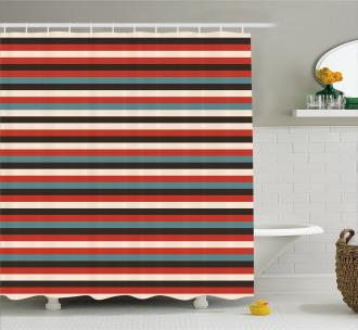Vintage 60's Red Black Shower Curtain