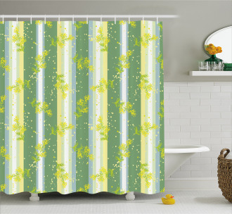 Spring Striped Flowers Shower Curtain