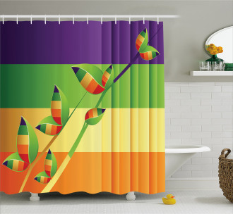 Floral Leaves Stripes Shower Curtain