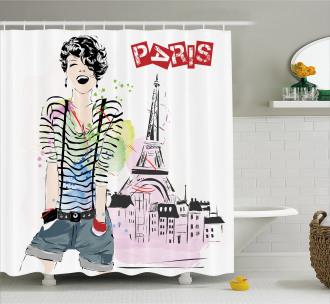 Happy Teen Girl Shower Curtain