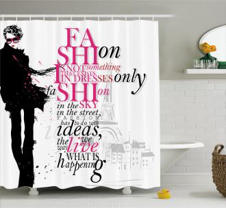 Paris Girl Words Shower Curtain