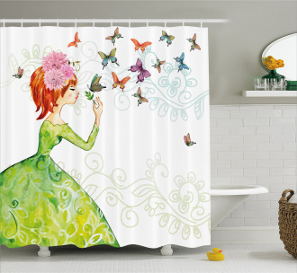 Cartoon Lady Pastel Shower Curtain