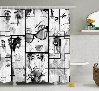 Modern Paris Girl Shower Curtain