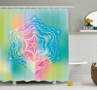 Flower Mandala Rainbow Shower Curtain