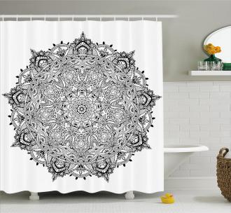 Mandala Art Black White Shower Curtain