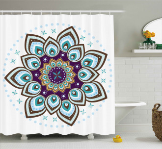 Boho Blooming Flower Shower Curtain