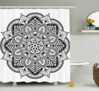 Mandala Black White Art Shower Curtain