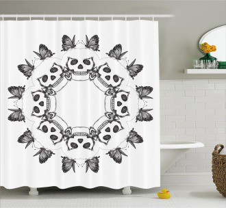 Gothic Skulls Butterfly Shower Curtain