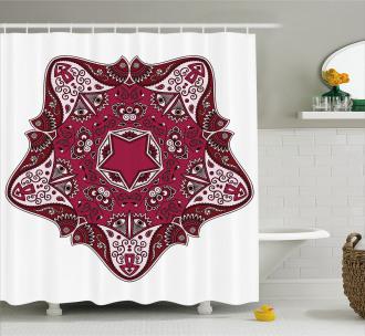Maroon Mandala Asian Shower Curtain