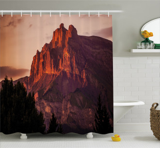French Alps Peak Sunset Shower Curtain