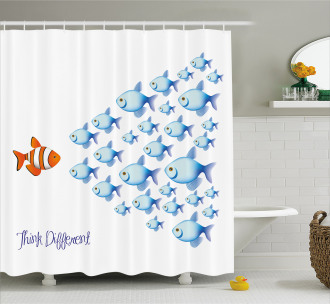 Think Differently Quote Shower Curtain