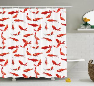 Asian Koi Shoal Marine Shower Curtain