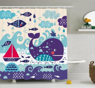 Cartoon Whale an Fishes Shower Curtain