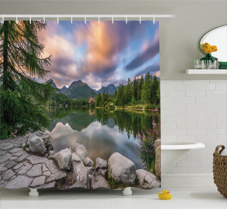 Lake by Forest Mountain Shower Curtain