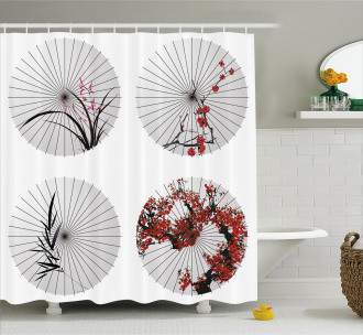 Floral Art on Umbrella Shower Curtain