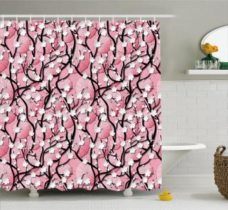 Sakura Tree Umbrellas Shower Curtain