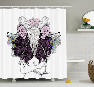 Deer Skull with Roses Shower Curtain