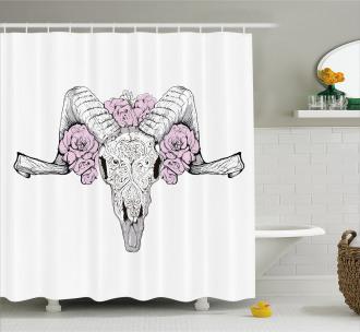 Roses Bones Spiritual Shower Curtain