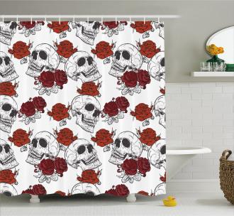 Roses Gothic Skull Shower Curtain