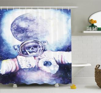 Cosmonaut Skull Space Shower Curtain