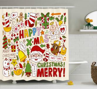Santa Claus Snowman Angel Shower Curtain