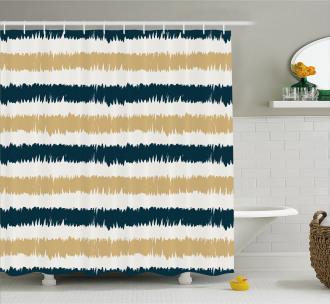 Navy Blue Beige Brush Shower Curtain