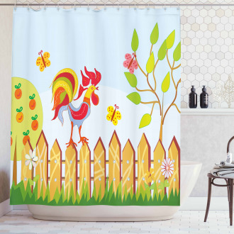 Tree Butterfly and Flower Shower Curtain